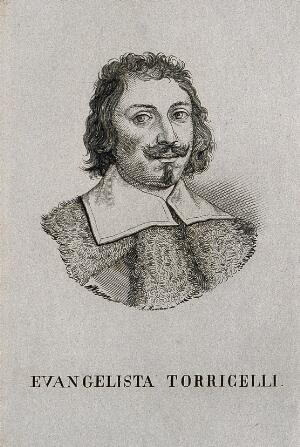 view Evangelista Torricelli. Line engraving by S.L. Polaco.