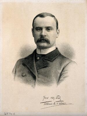 view Sir Frederick Treves. Lithograph, 1884.