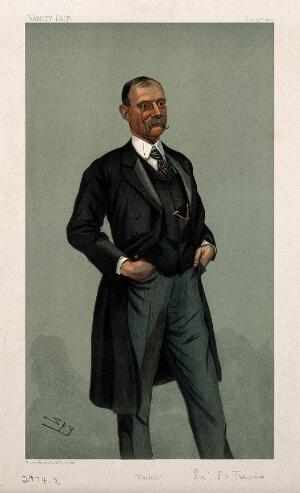 view Sir Frederick Treves. Colour lithograph by Sir L. Ward [Spy], 1900.