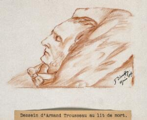 view Armand Trousseau on his deathbed. Red chalk drawing by G. Dieulafoy, 1867.