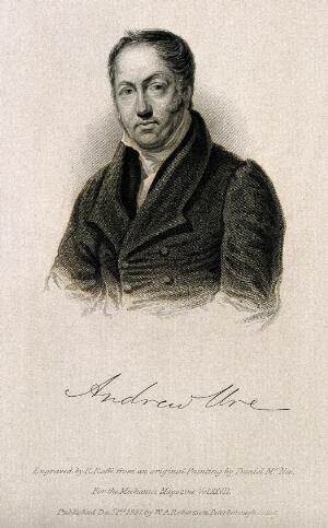 view Andrew Ure. Line engraving by R. Roffe, 1837, after D. McNee.