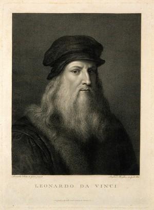 view Leonardo da Vinci. Line engraving by R. Morghen after Leonardo.