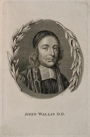 view John Wallis. Line engraving by J. Basire, 1791, after G. B. Cipriani.