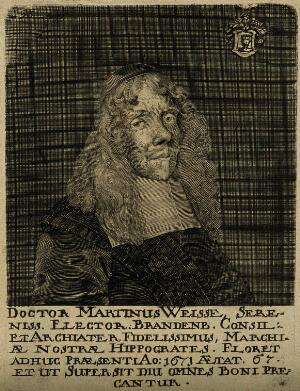 view Martin Weisse. Line engraving, 1671.