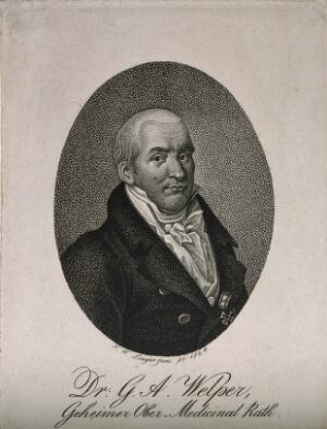 view Georg Adolph Welper. Stipple engraving by F. W. Linger, junior, 1824.