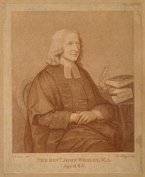 view John Wesley. Stipple engraving by F. Bartolozzi after J. Zoffany, 1760.
