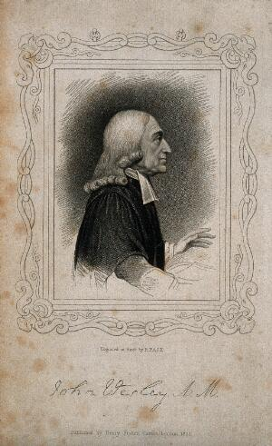 view John Wesley. Stipple engraving by R. Page, 1824, after H. Edridge.