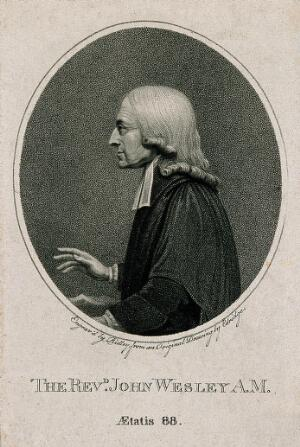 view John Wesley. Stipple engraving by R. Hancock, 1790, after J. Miller.