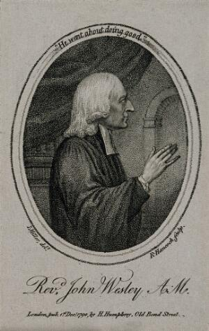 view John Wesley. Stipple engraving by W. Ridley after J. Miller.