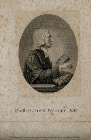 view John Wesley. Line engraving by T. Holloway, 1791, after himself.