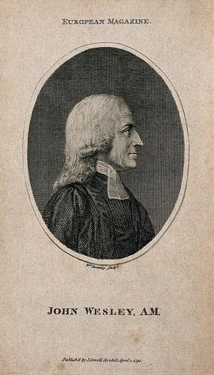 view John Wesley. Stipple engraving.