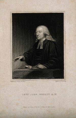 view John Wesley. Stipple engraving by T. A. Dean after J. Jackson.