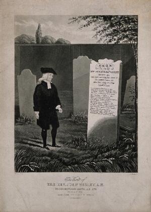 view John Wesley. Aquatint by G. Hunt after W. Lee.