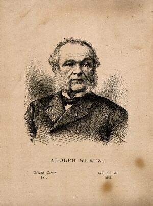view Charles Adolphe Wurtz. Etching by J. Egez.