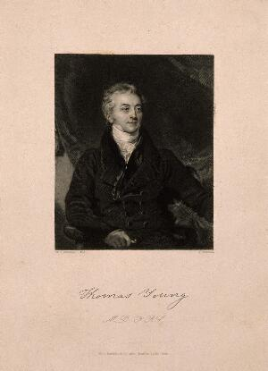 view Thomas Young. Stipple engraving by J. Thomson, 1840, after Sir T. Lawrence.