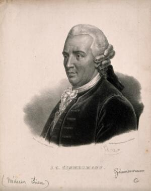view Johann Georg Zimmermann. Lithograph by P. R. Vignéron.