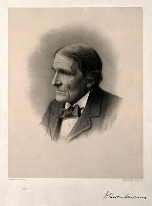 view Sir John Scott Burdon-Sanderson. Lithograph by G. B. Black.