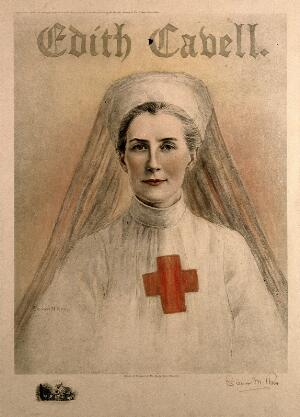 view Edith Louisa Cavell in Red Cross uniform. Colour process print after E. M. Ross, 1915.