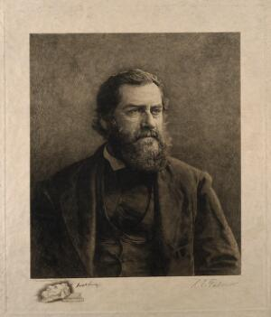 view Joseph Leidy. Etching by L. E. Faber.