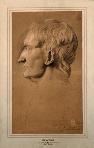 view Sir Isaac Newton. Chalk drawing by [R. S.], 1810, after M. Rysbrack.