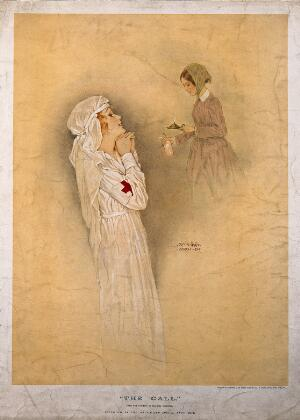 view Florence Nightingale: a nurse looking up at a vision of Florence Nightingale as 'the lady of the lamp'. Colour process print after R. Kirchner, 1917.