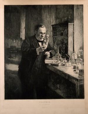 view Louis Pasteur. Etching by L. Orr after A. G. A. Edelfelt, 1885.
