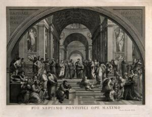 view The school of Athens: a gathering of ancient philosophers. Engraving by G. Mochetti after Raphael.