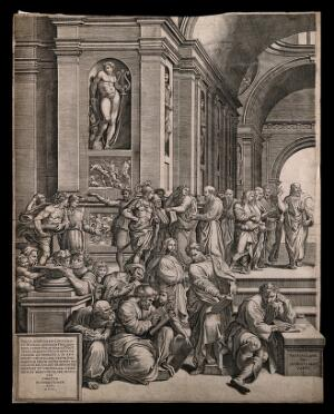 view The school of Athens: a gathering of Greek philosophers disputing with Saint Paul the Apostle. Engraving by G. Ghisi, 1550, after Raphael.