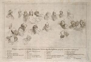 view The School of Athens: a key to the figures in the centre of the composition. Engraving by G. Volpato, after Raphael.