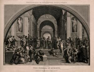 view The school of Athens: a gathering of ancient philosophers. Engraving by J. & T. Bartlett, 1835, after Raphael.