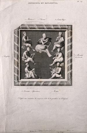 view Seven named physicians and botanists of the ancient Greek world. Engraving by Lohié after C. Bourguignon, called Laguiche.