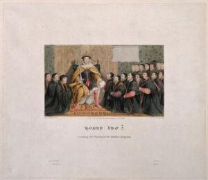 view King Henry VIII granting a Royal Charter to the Barber-Surgeons company. Coloured engraving by W.P. Sherlock, 1817, after H. Holbein, 1542.
