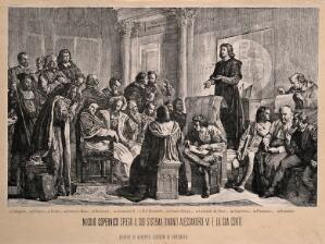 view Nicolas Copernicus explaining his planetary system to Alexander VI and artists of the Papal court. Photomechanical reproduction of a wood engraving by [W.G.] after A. Gerson.