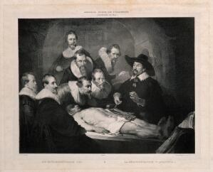 view Nicolaus Tulp demonstrating anatomy to seven syndics of the Surgeons' Guild of Amsterdam. Lithograph by Desguerrois after C.C.A. Last after Rembrandt, 1632.