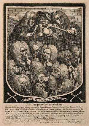 view A shield containing a group portrait of various doctors and quacks, including Mrs Mapp, Dr. Joshua Ward and John Taylor. Etching by W. Hogarth, 1736, after himself.