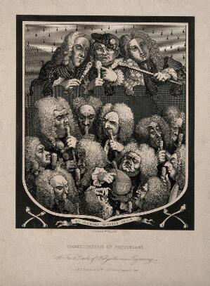 view A shield containing a group portrait of various doctors and quacks, including Mrs Mapp, Dr. Joshua Ward and John Taylor. Engraving after W. Hogarth, 1736.