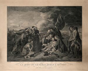 view The death of General Wolfe, at Quebec, in the background are soldiers and ships. Engraving by N. de Launay, after B. West, 1770.