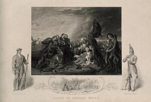 view The death of General Wolfe, at Quebec, in the background are soldiers and ships. Engraving by J. Rogers after B. West, the elder, 1770.