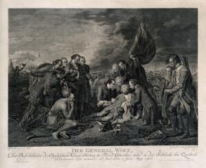 view The death of General Wolfe, at Quebec, in the background are soldiers and ships. Engraving by C. Guttenberg, after B. West, the elder, 1770.
