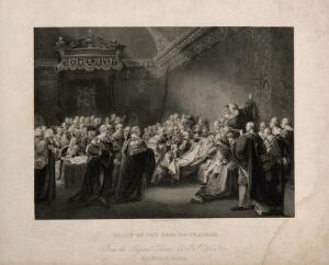 view The death of William Pitt, Lord Chatham, in the Upper Chamber of the Palace of Westminster, 1778. Engraving by F.F. Walker after J. Copley, 1779.