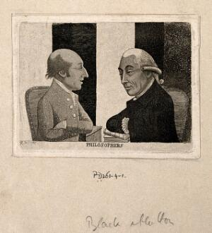 view Joseph Black and James Hutton, natural philosophers, talking together. Etching by J. Kay, 1787, after himself.