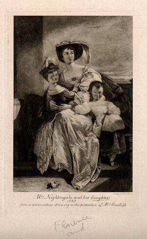 view Mrs Nightingale with her daughters, Florence and Parthenope. Photogravure by E. Walker after a watercolour, 1828.