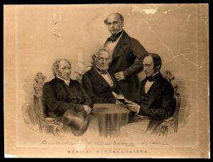 view Celebrated psychologists, gathered around a table. Lithograph by G.B. Black after J.E. Mayall, 1851.