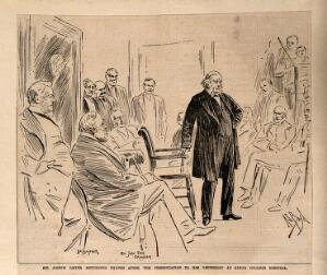 view Joseph Lister giving thanks for a testimonial and portrait presented to him at King's College Hospital, Lincoln's Inn Fields, 1895. Process print after A.S. Boyd, 1895.