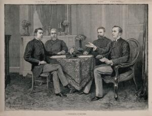 view The death of the Emperor Friedrich III in San Remo: the doctors gathered in another room to discuss the case. Wood engraving by P. Naumann after A. Forestier, 1888.