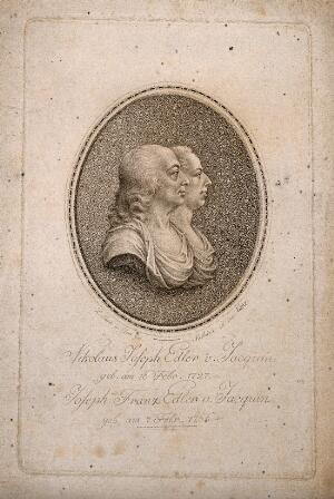 view Nicholas Joseph, Freiherr von Jacquin, and his brother Joseph Franz. Line engraving by Mathieu, 1802, after a wax medallion by L. Posch.