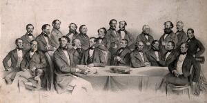 view Members of the Association of Homeopathic Doctors, meeting in Vienna. Lithograph by J. Kriehuber, 1857.
