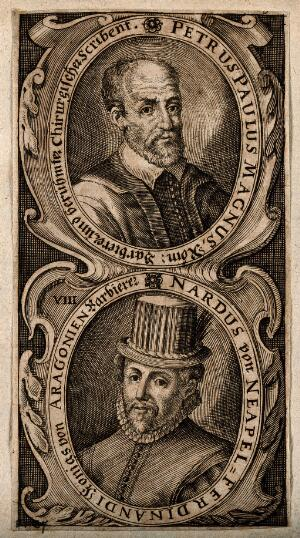 view Two barbers: Peter Paul Magnus (above) and Nardus of Naples (below). Line engraving.