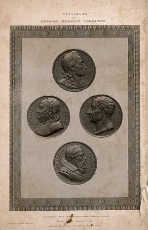 view John Locke, Benjamin Franklin, Joseph-Louis Lagrange, and Galileo Galilei: profile portraits taken from medals. Line engraving by J. Bate, 1836.