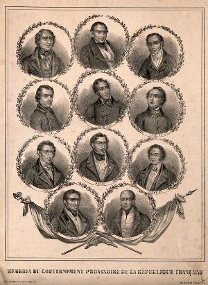 view Members of the provisional government of the Second Republic of France, 1848. Lithograph.